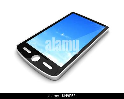 A Smartphone. 3D rendered illustration. Isolated on white. - Stock Photo