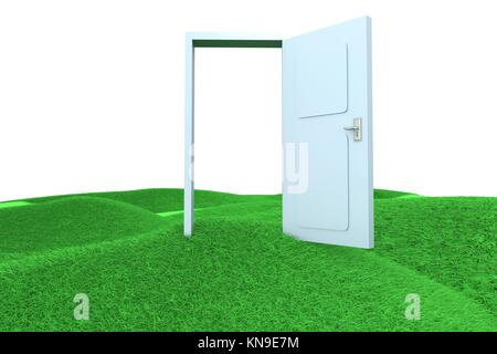A door on green Hills. 3D rendered Illustration. - Stock Photo