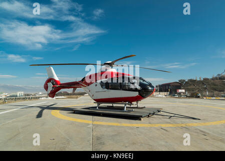 Rescue helicopter on a plane - Stock Photo