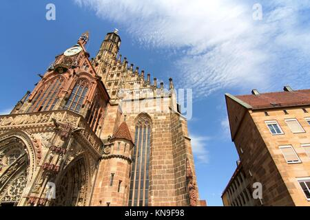 The Frauenkirche (Church of Ladies) in Nuremberg, Bavaria, Germany. - Stock Photo