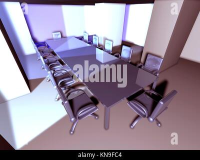 3D rendered Boardroom. Surreal metal Interior.. - Stock Photo