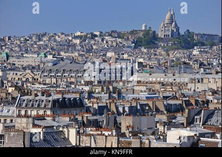 Paris cityscape with Montmartre hill and the Sacre-Coeur from the Eiffel Tower, Paris, France, Europe. - Stock Photo