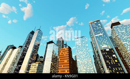 Generic urban architecture and skyscrapers forming a huge city. 3D rendered Illustration.. - Stock Photo