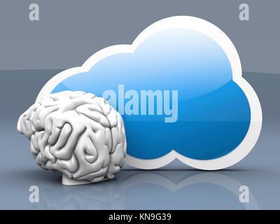Intelligence of cloud computing. 3D rendered illustration. - Stock Photo