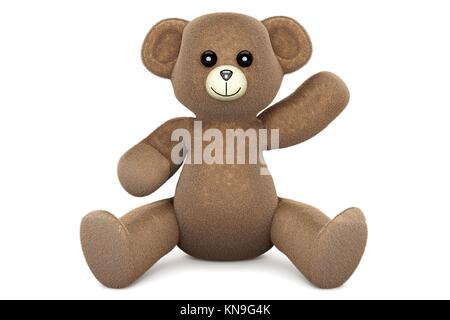 A greeting Teddy bear. 3d rendered Illustration. - Stock Photo
