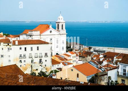 Panoramic of Alfama district and Taugus river in Lisbon Portugal. - Stock Photo