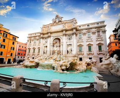 Beautiful Fountain de Trevi in Rome, Italy. - Stock Photo