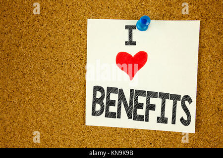 Hand writing text caption inspiration showing I Love Benefits concept meaning Bonus Employee Financial Benefits - Stock Photo