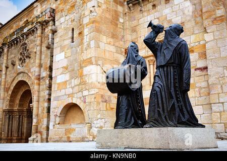 Nazarenos statues at Zamora San Juan church in Plaza Mayor at spain. - Stock Photo
