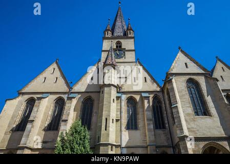 Saint Mary Lutheran Cathedral in Sibiu city in Romania. - Stock Photo