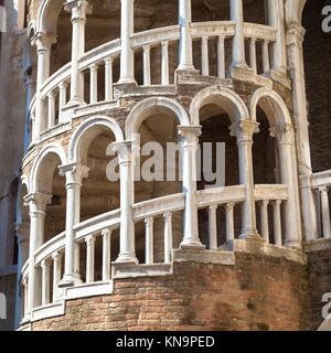 Scala Contarini del Bovolo - Venezia Italy / Detail of the Scala Contarini del Bovolo of Contarini Palace in the - Stock Photo