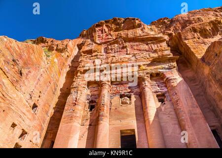 Royal Rock Tomb Arch Petra Jordan. Built by the Nabataens in 200 BC to 400 AD. Inside the Tombs, the red, orange, - Stock Photo