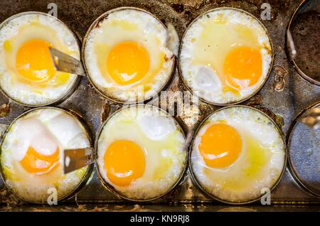 Cooking six fried eggs with moulds on griddle. High angle view. - Stock Photo