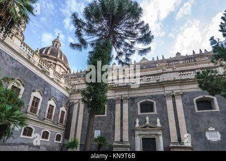 Side view of Roman Catholic Metropolitan Cathedral of Saint Agatha on Cathedral Square in Catania city on the east - Stock Photo