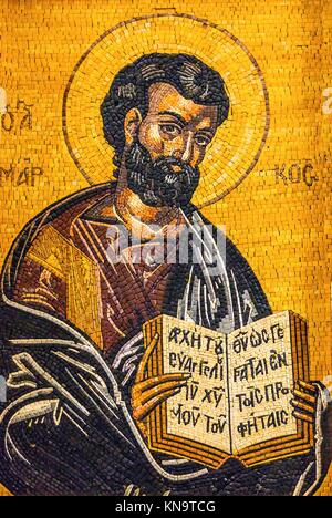 Gospel Writer Mark Mosaic Saint George's Greek Orthodox Church Madaba Jordan. Church was created in the late 1800s - Stock Photo