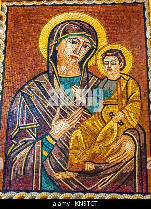 Mary Baby Jesus Christ Mosaic Saint George's Greek Orthodox Church Madaba Jordan. Church was created in the late - Stock Photo