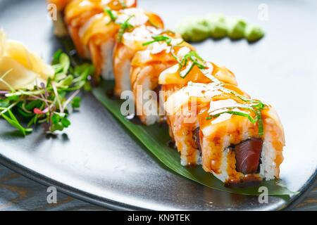 Rice Maki Sushi with nori foie mango and sweet onion. - Stock Photo