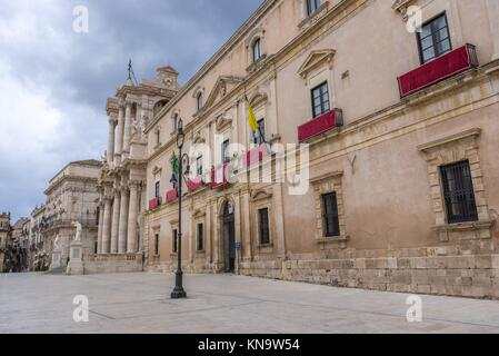 Archbishop's Palace (Palazzo Arcivescovile) at Cathedral Square (Piazza del Duomo) on Ortygia island, Syracuse city, - Stock Photo