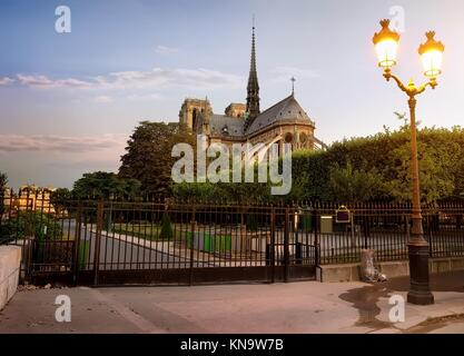 Notre Dame de Paris and park in early morning, France. - Stock Photo