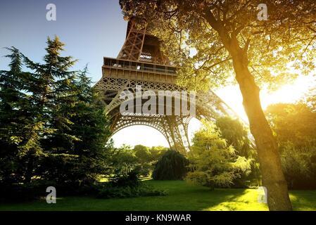 Park near Eiffel Tower in Paris, France. - Stock Photo