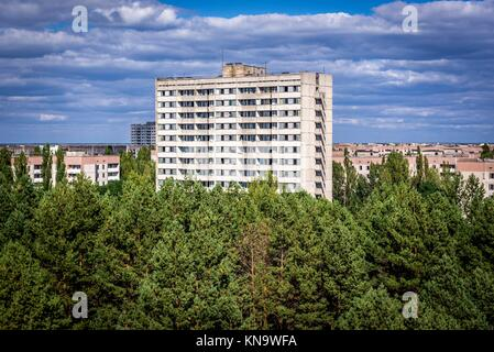 16-storey residential buildings in Pripyat ghost town in Chernobyl Nuclear Power Plant Zone of Alienation around nuclear reactor disaster, Ukraine.