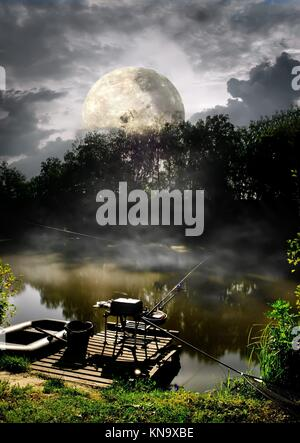 Full moon over fishing pier on river. Elements of this image furnished by NASA. - Stock Photo