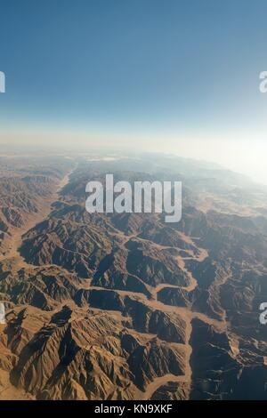 Range of mountains in Sinai from aerial view. - Stock Photo