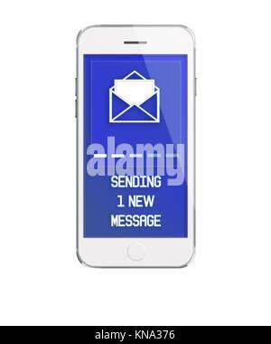 Mobile smart phone with screen showing inscription of sending one new message isolated on white background. Highly - Stock Photo