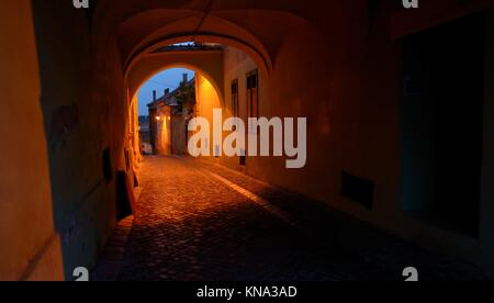 Old street of residential buildings in Sibiu city Romania. - Stock Photo