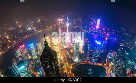 View of Pudong area and The Bund in Shanghai - Stock Photo