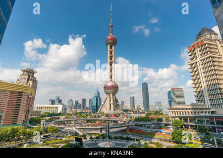 Oriental Pearl Tower in Shanghai - Stock Photo