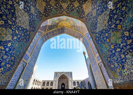 Main courtyard of Shah Mosque also called Imam mosque in Isfahan city, Iran. - Stock Photo