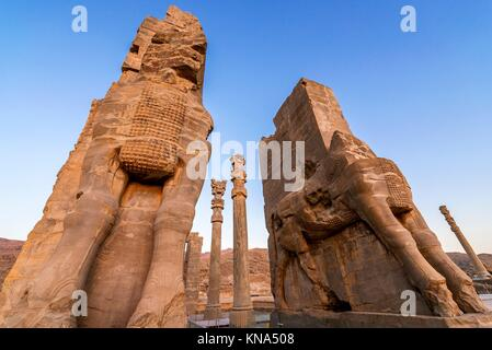 Ruins of Gate of All Nations in Persepolis ancient city in Iran. - Stock Photo