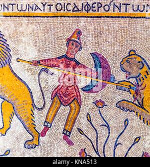 Ancient 6th Century People Animal Mosaic Memorial Church Moses Mount Nebo Jordan. Mount Nebo where Moses saw the - Stock Photo
