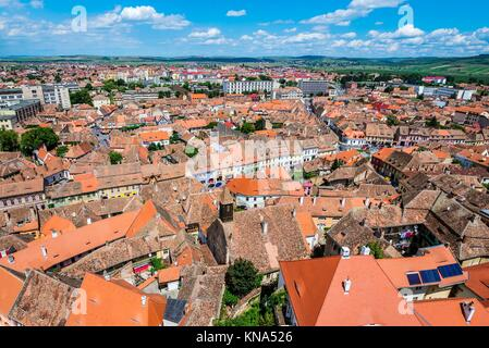 Aerial view from Saint Mary Lutheran Cathedral in Sibiu city in Romania. - Stock Photo