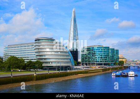 London skyline City Hall and Shard on Thames river. - Stock Photo