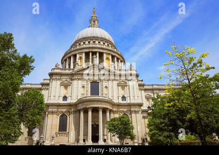 London St Paul Pauls Cathedral facade in England. - Stock Photo