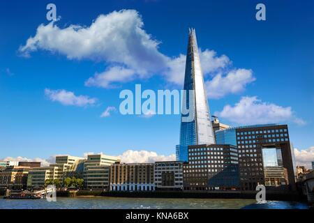 London skyline Shard on Thames river in UK. - Stock Photo