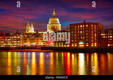 London St Paul Pauls cathedral from Millennium bridge on Thames UK. - Stock Photo