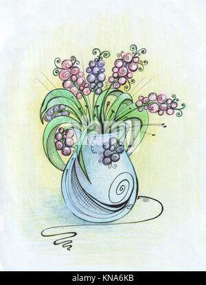 Still life - a vase of flowers painted pencil. - Stock Photo