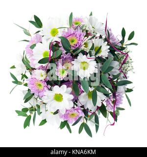 Bouquet from Gerbera Flowers Isolated on White Background. Closeup. - Stock Photo