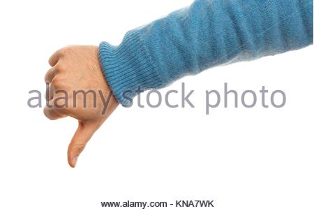 Concept of Thumb down with hand on white background. - Stock Photo