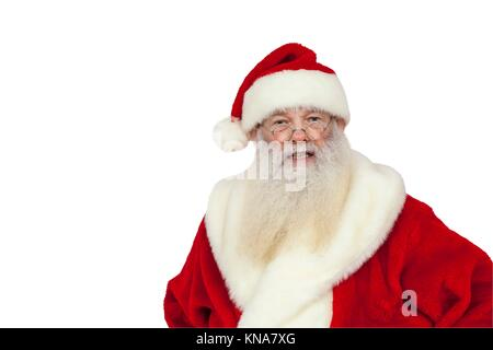 Santa Claus with real white beard looks angry (isolated). - Stock Photo