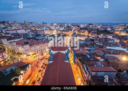Evening in Porto, second largest city in Portugal. Aerial view from bell tower of Clerigos Church. - Stock Photo