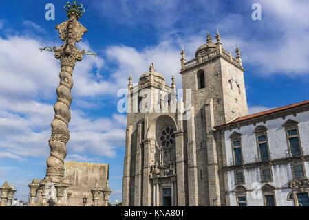 Roman Catholic Se Cathedral in Porto, second largest city in Portugal. View with Cloister and Chapter House building - Stock Photo
