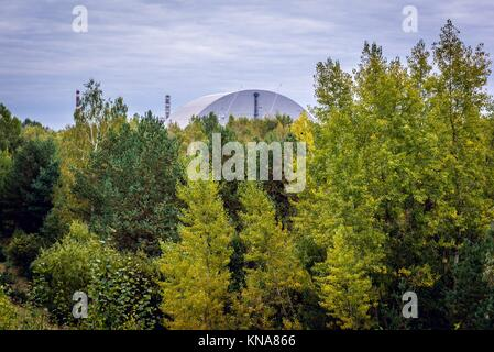 New Safe Confinement of Chernobyl Nuclear Power Plant in Zone of Alienation around the nuclear reactor disaster - Stock Photo