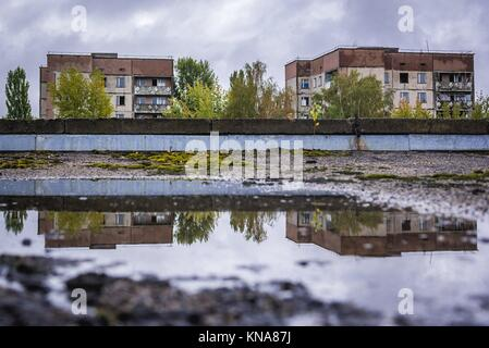 View from roof of High school No 2 in Pripyat ghost city of Chernobyl Nuclear Power Plant Zone of Alienation around - Stock Photo