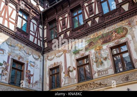 Depicted walls at Peles Castle in Sinaia, Romania. - Stock Photo