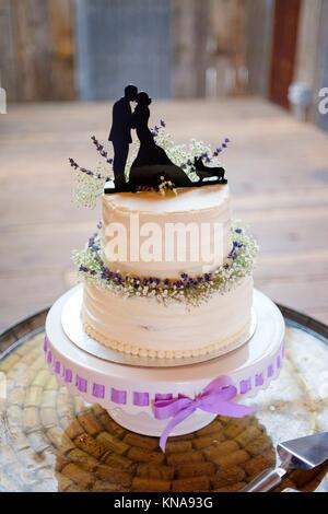 Wedding cake topper with the bride, groom, and their corgi at a reception in Oregon. - Stock Photo