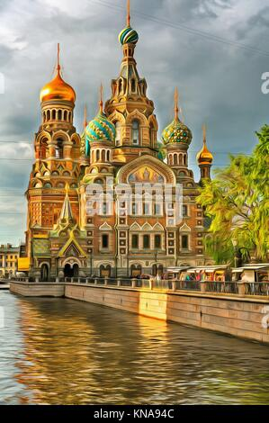 Colorful painting of Church of the Savior on Blood, Saint Petersburg, Russia. - Stock Photo